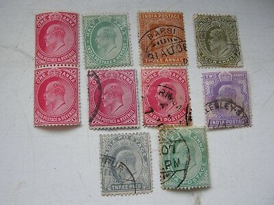 India 10 stamps KEVII 8 fine used a pair of 1d red MNH