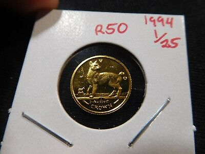 R50 Isle of Man 1994 GOLD 1/25 Oz. Japanese Bobtail Cat Crown Proof