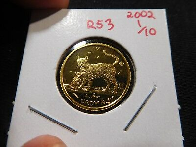R53 Isle of Man 2002 GOLD 1/10 Oz. Bengal Cat & Kitten Cat Crown Proof