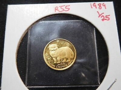 R55 Isle of Man 1989 GOLD 1/25 Oz. Persian Cat Crown Proof In Original Seal