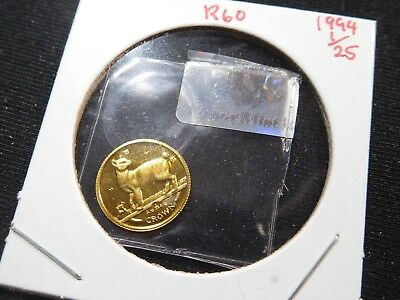 R60 Isle of Man 1994 GOLD 1/25 Oz. Japanese Bobtail Crown Proof In Original Seal