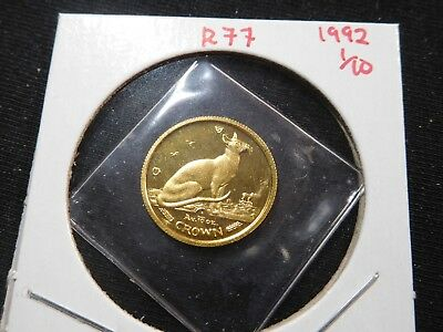 R77 Isle of Man 1992 GOLD 1/10 Oz Siamese Cat Crown Proof In Original Seal