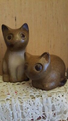 RARE Howard Pierce Pottery PAIR BROWN CATS, SIGNED BY ARTIST, LOVELY CONDITION