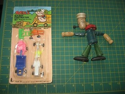 Vintage Popeye Toy Lot Wood Puppet? Moc Sea Bees Construction Set Nr