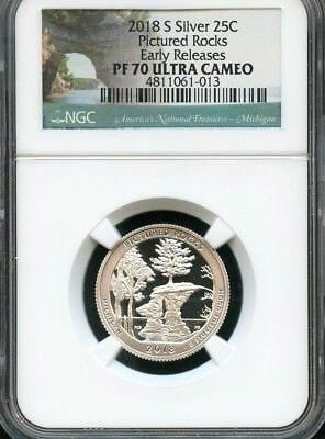 2018 S Silver Quarter Pictured Rocks Early Releases NGC PF70 Ultra Cameo