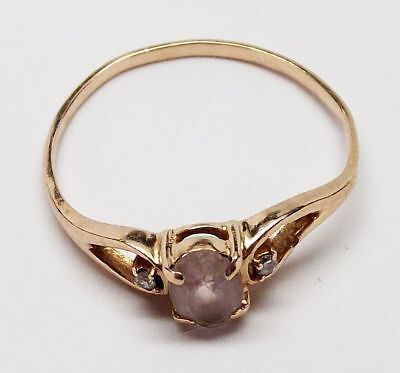Vintage SOLID 10K YELLOW GOLD Pale Pink Stone & DIAMOND Ring (SIZE: 7.25) - L@@K