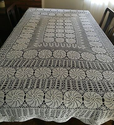CROCHET White, Rectangular Tablecloth 186x220cm - UNUSED