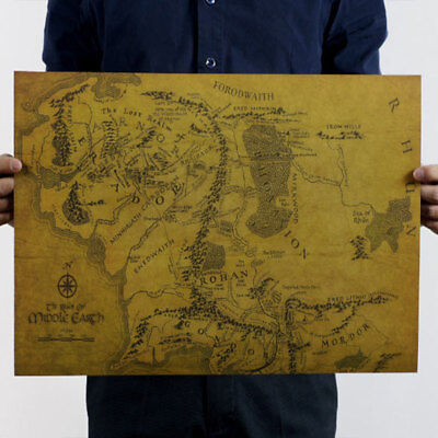Map Of Middle Earth Lord Of The Rings HD 19*14''/32*24'' Poster Art Photo Cloth