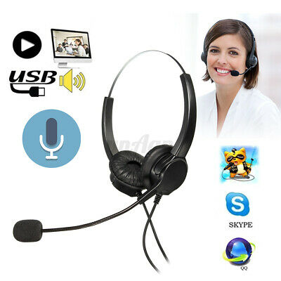 Call Center Headset Telephone Corded Wired Microphone Office Head Phone RJ11 MIC
