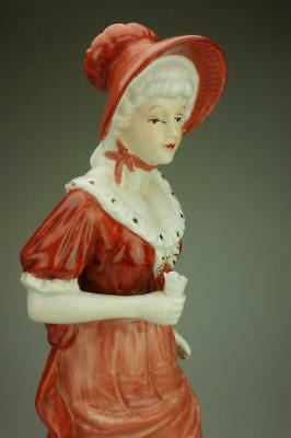 Porcelain Lady in Costume Apricot Dress & Bonnet Made in Taiwan Figurine KC315