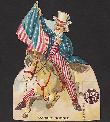 Yankee Doodle 1800's Uncle Sam Lion Coffee DieCut Pony Doll Victorian Trade Card