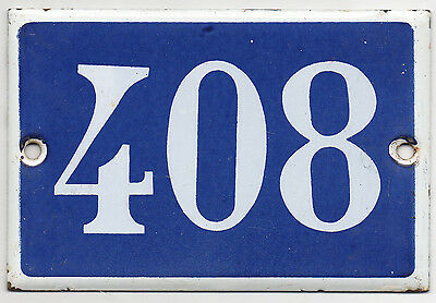 Old blue French house number 408 door gate plate plaque enamel steel metal sign