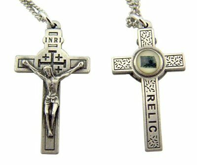 Pewter Jerusalem Cross Crucifix Pendant with 3rd Class Relic, 1 1/2 Inch