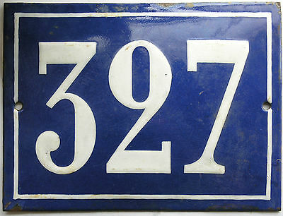 Large old French house number 327 door gate plate plaque enamel steel metal sign