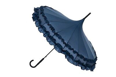 Blooming Brollies Boutique Classic Frilled Pagoda Stick Umbrella - Navy