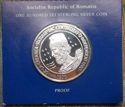 1983 Socialist Republic of Romania Proof Silver 100 Lei  original packaging
