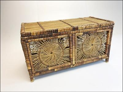 Vintage WICKER STORAGE CHEST brown toy bin box shabby cottage trunk rattan boho