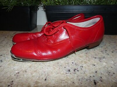 Size 9 W WOMENS Clogging Tap Dance Shoes with Metal Taps Red Leather Complete