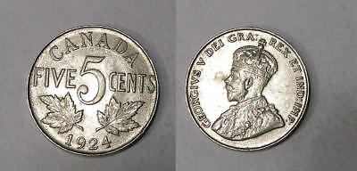 1924 CANADA NICKEL aUNC. TOUGHER DATE THIS NICE INV#334-53