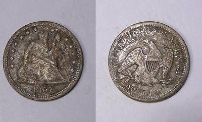 1857 Seated Liberty Silver Quarter Inv#334-4