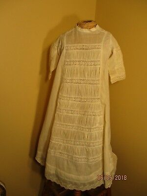 Beautiful vintage ivory batiste baby dress with ruching  early 1900's