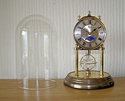 Glass Dome HERMLE Moonphase Quartz Anniversary Style Clock - Made in Germany