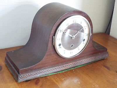 Vintage Wooden Mantel Clock with Key Chimes work clock not running spares/repair