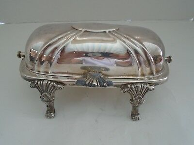 """Vintage  """"Bristol"""" #46 Roll-Top Silverplate Butter Dish With Glass Insert"""