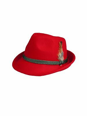 Schuhmacher Traditional Costume Hat HT750 Red with Feather