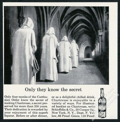 1963 Chartreuse liqueur Carthusian Monk art Only They Have The Secret print ad