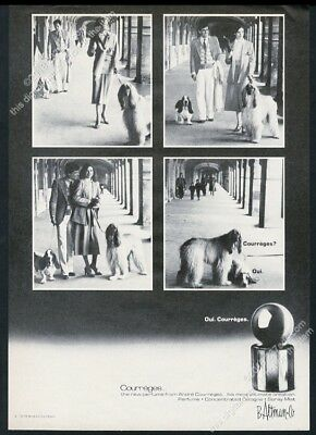 1978 Afghan Hound photo and Basset Hound Courreges perfume vintage print ad