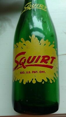 Vtg Squirt 7 oz. Glass Bottle with ACLs and Mascot