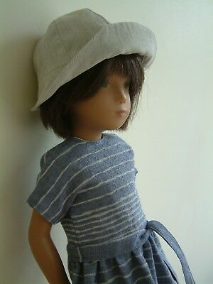 Cotton hat, striped cotton lined dress and pair of silk pants for 17 inch Sasha