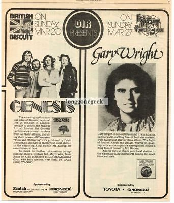 1977 Genesis Gary Wright King Biscuit Flower Hour Vtg Concert Promo Print Ad