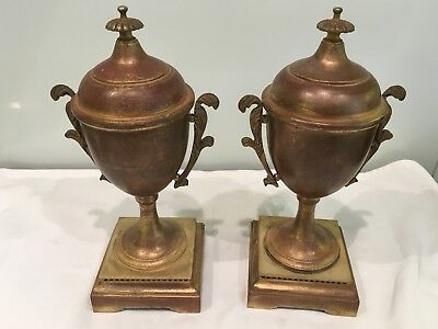 Pair Of Antique Gilt Metal, Bronze Classical Garnitures