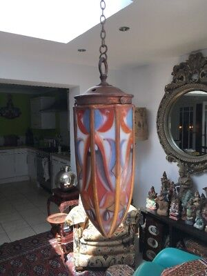 Unusual Arts N Crafts , Art Nouveau Painted Glass Panel Electric Lantern ,light