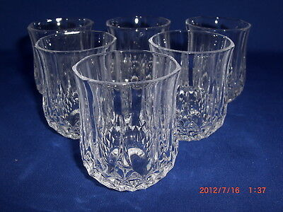 6 Cristal D'Arques France Longchamp Pattern Crystal Clear Shot Glasses