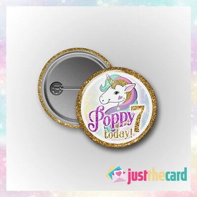 Unicorn Birthday Badge - Personalised Party Gift with Any Name and Age on!