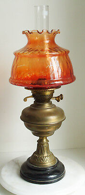 Antique VICTORIAN Brass Column OIL LAMP, with Orange Glass Shade