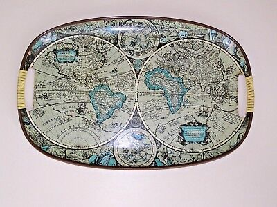 Genuine Vintage 1960's World Map Atlas GIN Drinks Serving Tray - Made in Japan