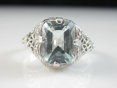Aquamarine Ring 14K White Gold Vintage Estate Art Deco Retro Fine Jewelry Aqua