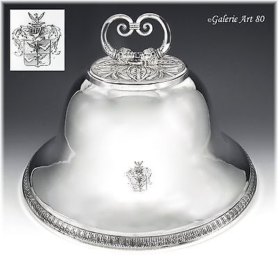 Rare Antique French Sterling Silver Meat Dome ROTHSCHILD Coat of Arms 1817-22
