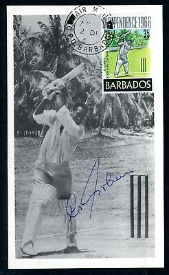 BARBADOS 1966 - INDEPENDENCE 35c G SOBERS (SG 358) CRICKETER SIGNED MAXIM CARD
