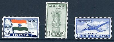 India 1947 Independence Set Of 3 (Sg 301/3) Lightly Mounted Mint