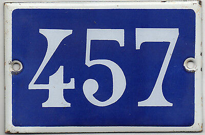 Old blue French house number 457 door gate plate plaque enamel steel metal sign