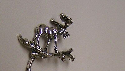 Salt Spoon Sterling Silver ( 3- D Moose  )