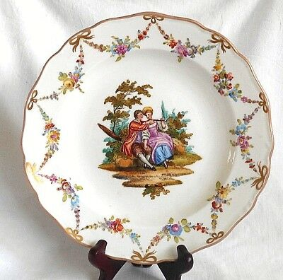 Mid C19Th Meissen Hand Painted Plate With Romantic Couple And Sprays Of Flowers