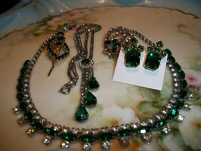 Vintage Mixed Lot of Emerald Green and Crystal Rhinestone Jewelry [5]