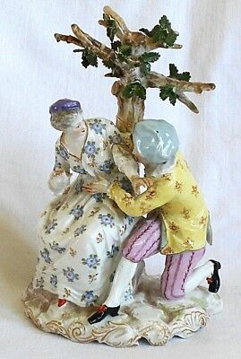 Early C19Th Meissen Hand Painted Figure Group Of A Man And A Lady Before A Tree