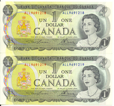 Bank of Canada 1973 $1 One Dollar Consecutive Pair UNC Lawson- Bouey All Prefix